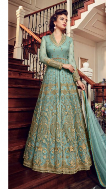 Light Teal Embellished Gown